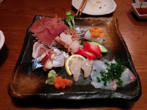 寺田屋@福岡 うちわエビと鯨のあるお作り盛り合わせ